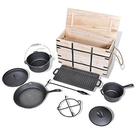 Petcomer Dutch Oven Ensemble dans une boîte en bois, Fonte, cuisine en boîte Ensemble de cuisine pour barbecue, extérieur, pique-nique, camping, vacances, Lot de 9