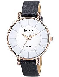 Ref. MW-10-02 Reloj Select Señora, caja de acero rosé, correa de cuero negra, sumergible 50 metros, garantía 2 años.