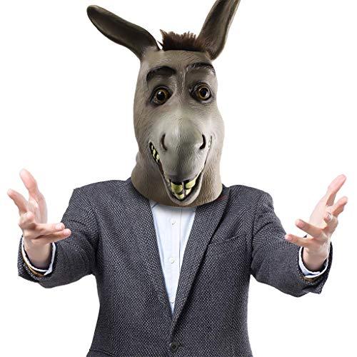 QWEASZER Halloween Shrek Esel Gesichtsmaske, Esel Maske, Neuheit Deluxe Kostüm Party Cosplay Latex Tierkopf Maske für Erwachsene,Donkey-OneSize (Halloween-kostüme Shrek Für Erwachsene)