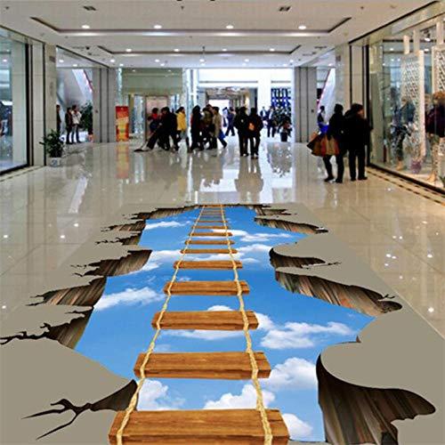 Fototapete 3D Effekt Benutzerdefinierte Bodendekorationen Zeichnen 3D Gehweg Flur Wohnzimmer Holzbrücke Auf Dem Himmel 3D Boden Malerei Tapete 400X280Cm - Himmel Auf Boden
