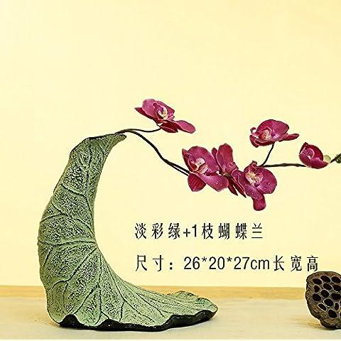 midtawer Nuovi cinesi asciugare il vaso portafiori creative Boutonniere Retro-home soggiorno aderente floral art deco piccoli ornamenti,luce colorata in verde+1bastoncini della falena Orchid