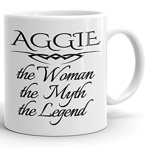 Aggie Coffee Mug Kaffeetasse Kaffeebecher Personalisiert mit Name - The Woman The Myth The Legend - Beste Geschenke Gift for Frauen Women - 11 oz White mug (Mädchen Aggie)
