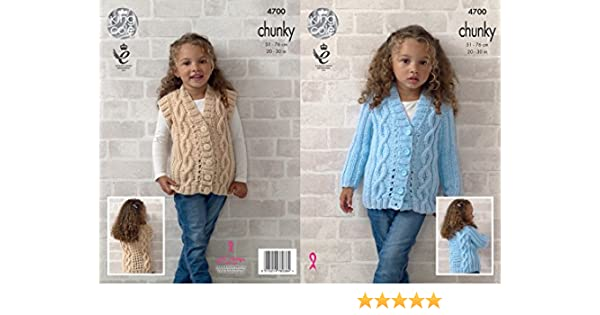 King Cole Knitting Pattern Waistcoat Cardigan /& Hat Chunky Yummy 4536