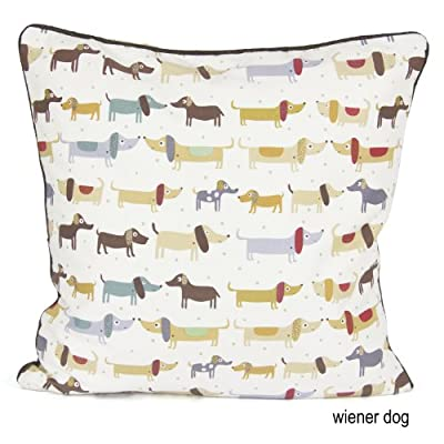 "100% Cotton's Brand Designer's Inspired Luxury Cushion Cover Design Wiener Dog Size 18""x18"""