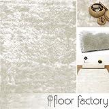 Exklusiver Hochflor Shaggy Teppich Satin weiß 200x290 cm - Luxus