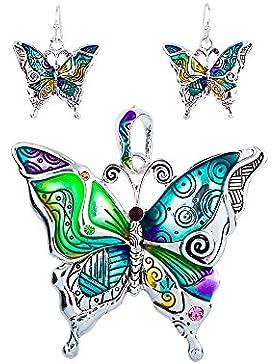 Schmuckset Anhänger und Ohrringe Schmetterling Mehrfarben - Blue Pearls - NUB 3610 E