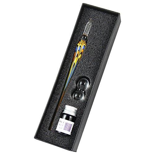 Aolvo Glas Dip-Pen set-crystal Spirale Glas Dip Kugelschreiber mit blauer Tinte und Federhalter Rest für das Handwerk Kalligraphie und Dekoration, verpackt in edlem Geschenk Fall 03