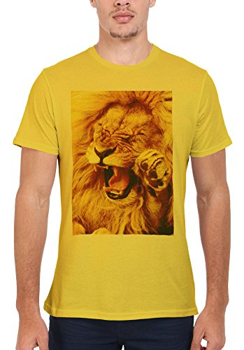 Smiling Lion Wild Funny Tumblr Men Women Damen Herren Unisex Top T Shirt Licht Gelb