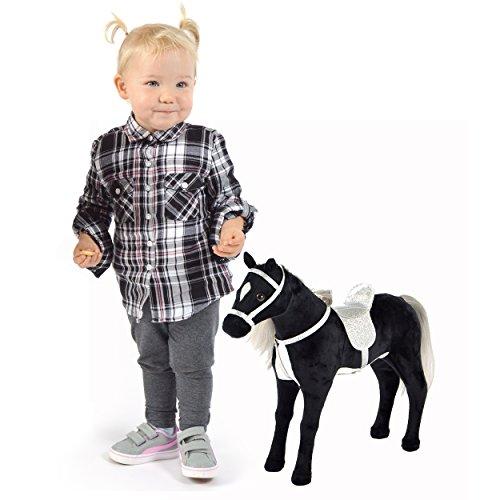 Pink Papaya Plüschpferd 40 cm - Stehpferd Carmen – Spielfigur Kuschel-Pferd mit abnehmbarem Sattel und Zaumzeug, Spielzeug Pferd in Puppen Große zum Spielen Träumen Toys
