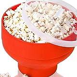 STARE89 Mikrowellen-Popcorn-Schüssel, Popcorn-Schüssel, Silikon, hohe Temperaturbeständigkeit, Popcorn-Herstellung, Faltbare Schüssel mit Deckel
