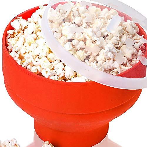 STARE89 Mikrowellen-Popcorn-Schüssel, Popcorn-Schüssel, Silikon, hohe Temperaturbeständigkeit, Popcorn-Herstellung, Faltbare Schüssel mit Deckel - Popcorn, Schüssel