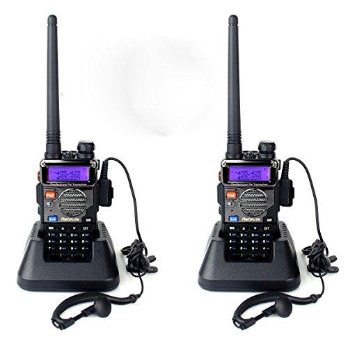 Retevis RT-5RV Funkgeräte 128 Kanäle UHF/VHF Dual-Band CTCSS DCS FM Ham Radio Two Way Radio mit Headset LCD Display (1 Paar, Schwarz)
