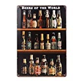 ultnice Vintage Metall Post Bar Schilder Plauge Blechschild Werbung für Home Shop Wand Decor, Beers of the World Retro