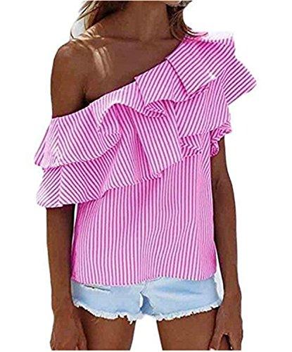 SHUNLIU Damen Hemd Mode Frauen lose One-Shoulder Streifen Muster Tops Bluse Shirt Sommer Casual T-shirt aus Baumwolle Rosa