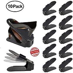 Lot de 10 range chaussures - Range chaussures magiques | Rangement chaussures | Support chaussures réglables | Organisateur chaussures réglable | Empile chaussures sur 2 niveaux | Rack chaussures