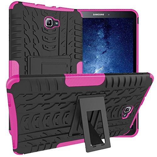 Asstar Samsung Galaxy Tab A 10.1 Hülle, Full Body Kickstand Stoßfeste Hybrid Heavy Duty Schutzhülle Cover für Samsung Galaxy Tab A 10.1 Zoll Tablet SM-T580 T585 2016 Release Schwarz/Rosé