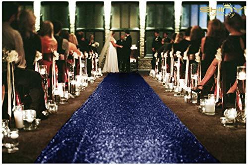 ShinyBeauty Navy Blau Pailletten Aisle Runner für die Braut 125x1200cm Navy Blau Teppich Läufer Bodenschiene für Party Glitter Gang Läufer für Partei,4FTx40FT