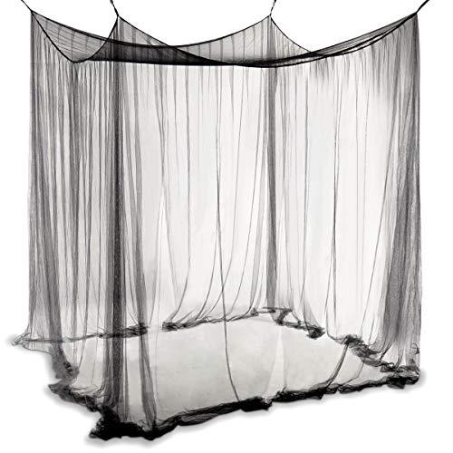 COSTWAY Betthimmel aus Polyester, Moskitonetz Schwarz, Mückennetz inkl. Haken, Baldachin für Doppelbett, Bettdekoration hängend 220x200x210cm -
