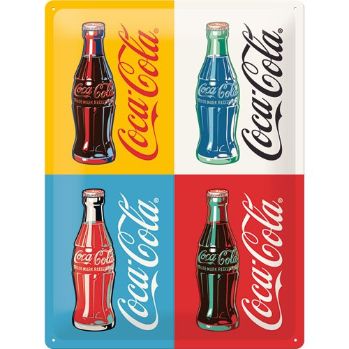 Nostalgic-Art Coca-Cola-Four Bottles Pop Art – Special Edition Targhe, Metallo, 40x0x30