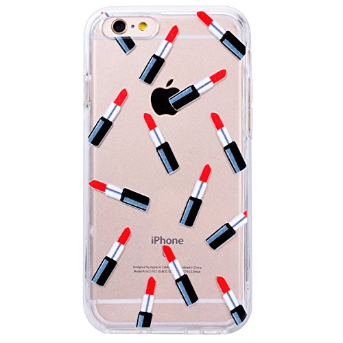 Yokata iPhone 6 / iPhone 6s Hülle Transparent Weich Silikon TPU Soft Case Protective Cover Handyhülle Schutzhülle Durchsichtig Clear Backcover Bumper mit Single Horned Cat Muster + 1 x Kapazitive Fede Lippenstift