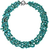 Bling Jewelry Simulated Turquoise Chips Bib Necklace 18in Silver Plated