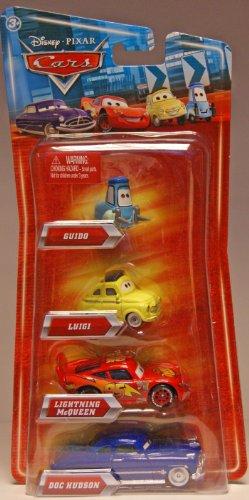 Preisvergleich Produktbild Disney Pixar CARS Exclusive 1:55 Die Cast 4-Pack Guido, Luigi, Lightning Mcqueen und Doc Hudson