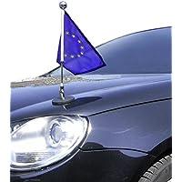 DIPLOMAT-FLAGS Porte-drapeau de voiture Diplomat-1-Chrome Europe (EU) à adhésion magnétique