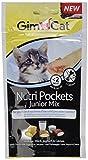 GimCat Nutri Pockets | Knuspersnack mit cremiger Füllung und funktionalen Inhaltsstoffen | ohne Zuckerzusatz | Junior Mix | 3 Beutel (3 x 60 g)