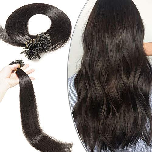 Extension cheratina capelli veri neri 100 ciocche - 40cm 0.5g/ciocca 50g/pack #1b nero naturale - 100% remy human hair u tip nail hair naturali lisci