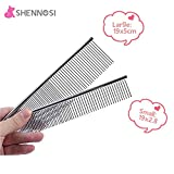 SHENNOSI® Pet Grooming massage Comb for Dogs Stainless Steel Set of 2 (Different size)