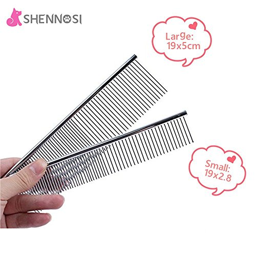 shennosir-pet-grooming-massage-comb-for-dogs-stainless-steel-set-of-2-different-size