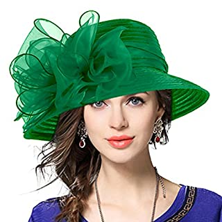 VECRY Lady Oaks Derby Dress Church Cloche Hat Ascot Bucket Wedding Bowler Hats (Green)