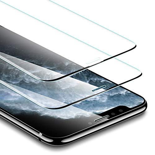 ESR Verre Trempé [SANS BORD NOIR] pour iPhone 11 Pro / iPhone XS/X (2 Pièces), [Cadre de Repère Offert], Film Protection Écran Dureté 3X Stronger pour iPhone 5,8 Pouce (2019)