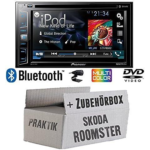 Skoda Roomster & Praktik - Pioneer AVH-X2800BT - 2DIN USB Bluetooth DVD - Autoradio - Einbauset