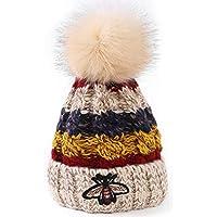 Aifulai Gorro de Lana para Mujer Sombreros de otoño e Invierno Sombrero de Punto de Cuatro Colores de Abeja Más Gorro de Terciopelo Grueso,Beige