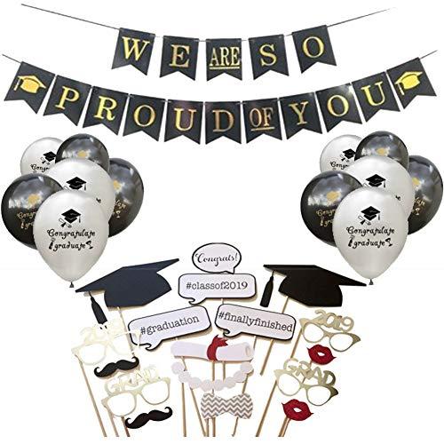 2019 Articoli per Feste di Laurea, Puntelli per Foto per Feste di Laurea, Palloncini per Feste e Banner per Feste (17Pcs Photo Decoration, 12Pcs Balloons, 1Pcs Banner)