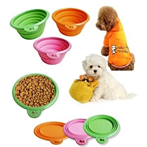 Portable pliant silicone Gamelle Chien Chat Voyage Alimentation Alimentation Plats Feeder