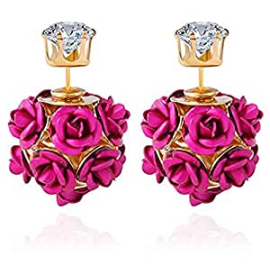 Youbella Jewellery Pink Rose Shape Two Sided Gold Plated Stud Earrings For Girls