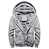 Herren Winterjacke,Moonuy Herren Boy M-5XL Hoodie Winter Warm Fleece Reißverschluss Pullover Charme Stilvolle Jacke Patchwork Hot Outwear Baumwollmantel in grau, rot, schwarz (Grau 2, 2XL)