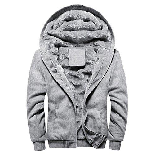 Herren Winterjacke,Moonuy Herren Boy M-5XL Hoodie Winter Warm Fleece Reißverschluss Pullover Charme stilvolle Jacke Patchwork Hot Outwear Baumwollmantel in grau, rot, schwarz (Grau 2, M)