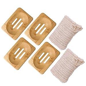WXJ13 Jabonera de madera 4 piezas Jabonera hecha de bambú natural con 2 piezas de sisal bolsa de jabón para el hogar