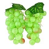 zhangming 2pc Deko Kunststoff Weintrauben Wein Trauben Kunstobst Plastikobst künstliches Obst Gemüse Dekoration 2 mal 17cm (Grün)