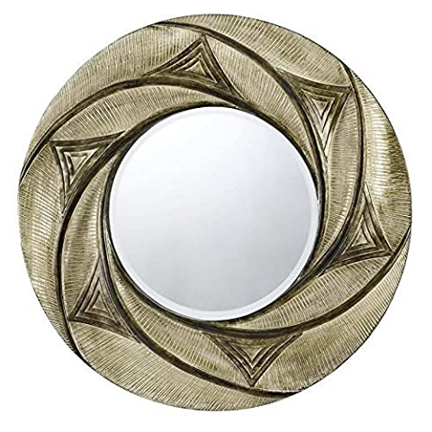 CAL LIGHTING WA-2157MIR Ponza Round Polyurethane Frame Mirror with Beveled Glass by Cal