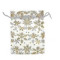 Hoomall Lot de 25pcs Organza Sachets Cadeau Bijoux Motif Flocon de Neige 12cm x16cm
