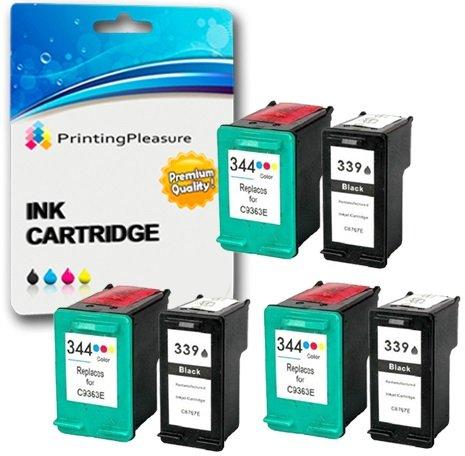 Printing Pleasure 6 Druckerpatronen für HP Photosmart 2570 2573 2575 2605 2610 2710 8050 8150 8450 8750 DeskJet 5740 5940 5950 6540 6840 6940 6980   kompatibel zu HP 339 (C8767EE) & HP 344 (C9363EE) -