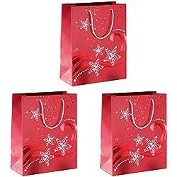 Sigel GT107 - Paquete de 3 bolsas de regalo para embalar, rojo