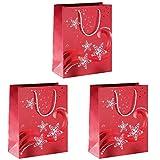 Sigel GT107 Lot de 3 sacs cadeaux Noël, 33 x 26 cm, rouge et blanc