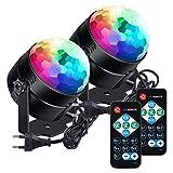 LED Discokuge lunsy Bühnenlicht Musikgesteuert Disco Lichteffekte RGB Partylicht 7 Farben Sound aktiviert mit Fernbedienung DJ Lichts für Festival Bar Club Party Hochzeit und mehr