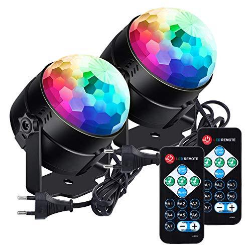 Discokugel,Led Discolicht klein Kinder lunsy 7 Farbe RGB LED Musikgesteuert Party Lampe Disco Lichteffekte Discolicht 360° Drehbares Partylicht...