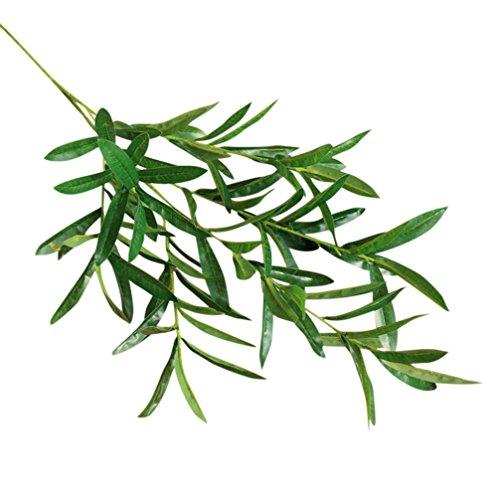 Künstliche Seide Fake Leaf,SuperSU Olivenzweig Zweig Blätter künstliche Blumen Gefälschte Blumen Foliage Grass Bush für Home Garten Licht grün UV-Beständig für Home Decor/Hochzeit/Parteien (Grün)